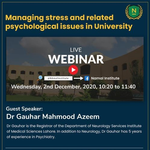 Managing stress and related psychological issues in University